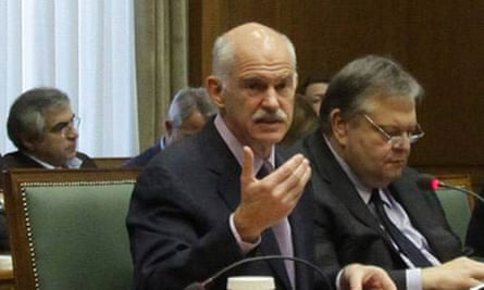 Greece's Prime Minister George Papandreou leads a cabinet meeting in Athens