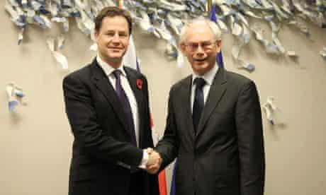 Nick Clegg and Herman Van Rompuy meeting at the European Council, Brussels, Belgium - 09 Nov 2011