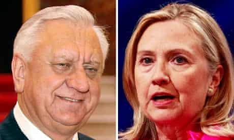 Mikhail Myasnikovich and Hillary Clinton