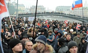 Protesters mass in Bolotnaya Square in central Moscow.