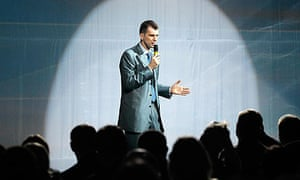 Tycoon Prokhorov addresses the audience during a congress of the Right Cause party in Moscow