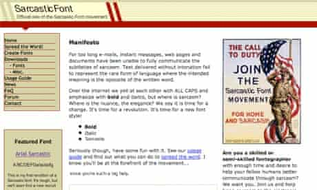 The 'Sarcastic Font' homepage