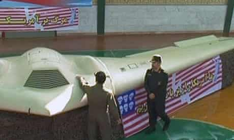 Iranian guards with US spy drone