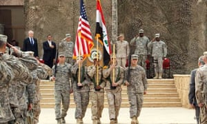 US troops at flag-lowering ceremony in Baghdad