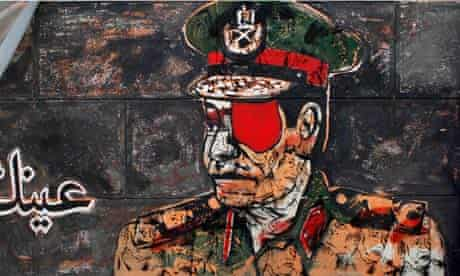 Graffiti depicting a high ranking army officer with an eye patch