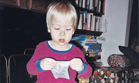 Jon Henley's son Nathan at opens his presents at 3.45am