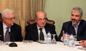 Mahmoud Abbas, Salim al-Zanoun and Khaled Meshaal talk during their meeting in Cairo
