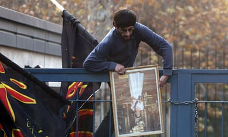 Hundreds of Iranian students protesters stormed the British embassy in Tehran