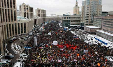 Demonstrators gather to protest against election fraud claims, in Moscow.