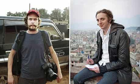 Swedish journalists Johan Persson (l) and Martin Schibbye