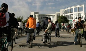 Shanghai University, China, students on bicycles