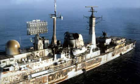 charred remains of HMS Sheffield after being hit by an Argentine Exocet missile