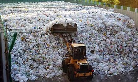 Plastic waste at the Tsurumi recycling centre in Yokohama.