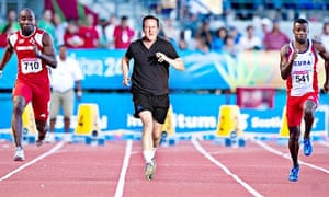 A composite image of David Cameron running in the 100 metres