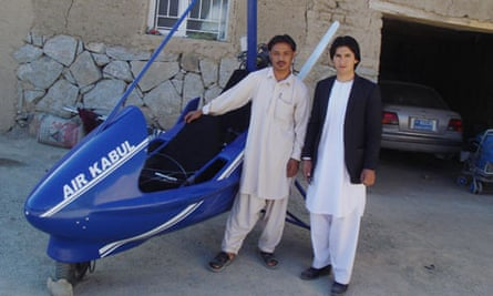 Sabir Shah, 25, from the dicey province of Ghazni in Afghanistan, with his homemade microlight