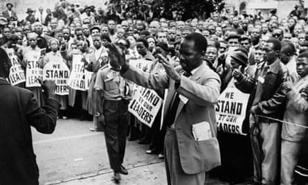 ANC supporters outside Mandela trial in 1956