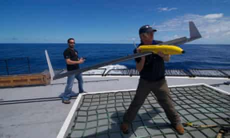The drone is launched from the deck of the Steve Irwin