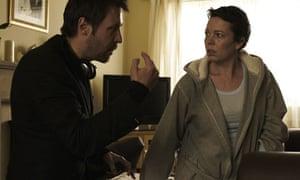 Paddy Considine with Olivia Colman on the set of Tyrannosaur