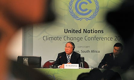 The head of Chinese delegation to the Durban climate talks, Xie Zhenhua at a press conference.