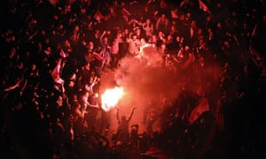 Egyptian anti-government protesters celebrate