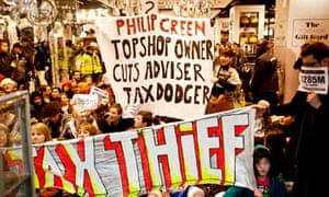 UK Uncut activists at Topshop in December