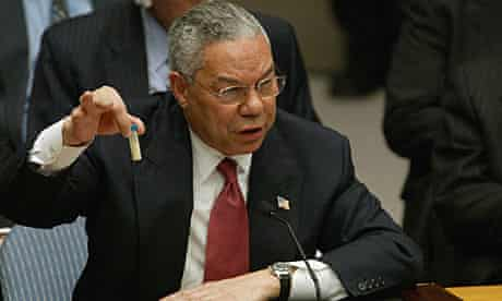 Colin Powell makes his presentation to the UN in February 203, ahead of the Iraq invasion.