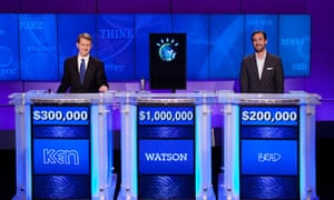 Watson, the IBM-created megabrain with Ken Jennings (l) and Brad Rutter (r) on 'Jeopardy!'