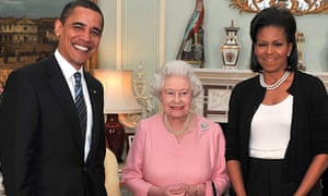 Barack Obama with Michelle Obama and Queen Elizabeth II