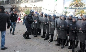 Algerian riot police in Annaba, during last weekend's protests.
