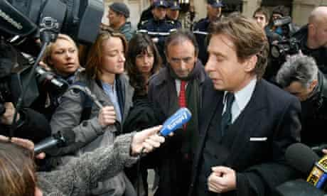 French journalist Eric Zemmour arrives at Paris court house with his lawyer Olivier Pardot