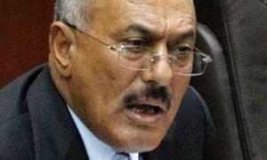 Yemeni President Saleh addresses the parliament in Sanaa