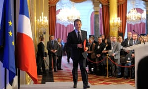 Nicolas Sarkozy at a news conference at the Elysée Palace last month