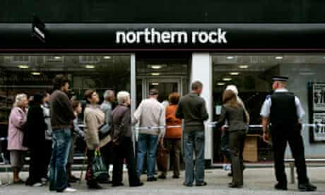 Customers queue to enter a branch of Northern Rock in Kingston, Surrey, southern England