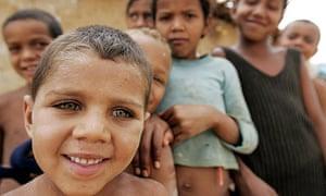 Children pose in Guaribas city, northeast Brazil