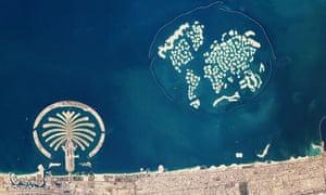 Artificial archipelagos Palm Jumeirah and The World, Dubai, United Arab Emirates, February 1, 2010