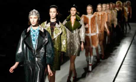 Models parade at the end of Prada Autumn/Winter 2011 women collection show at Milan's Fashion Week