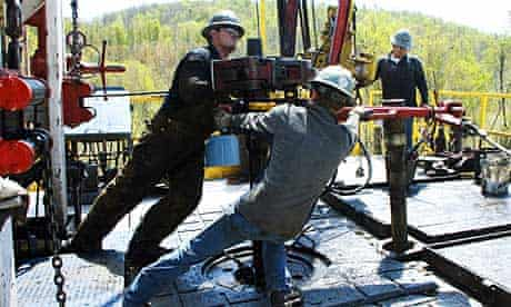 Workers at a natural gas well site near Burlington, Pennsylvania, in April 2010.