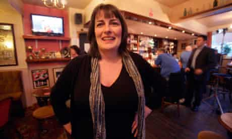 Karen Murphy, landlady of the Red, White and Blue pub, Portsmouth