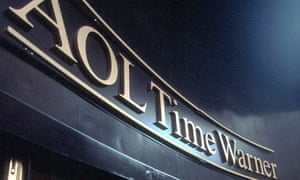 New logo on AOL Time Warner  office building on 51st Street in New York City