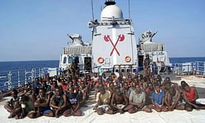 Suspects aboard the pirate ship the INS Taba on their way to Mumbai