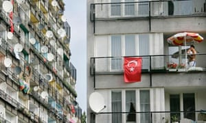 Turkish flags on the balconies of migrant families in Berlin on the day of a football international