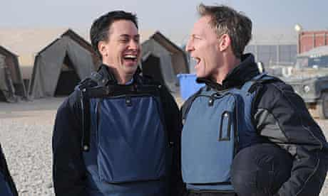 Jim Murphy (r) with Ed Miliband in Helmand province, Afghanistan, in January.