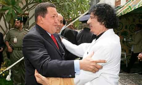 Hugo Chávez and Muammar Gaddafi, pictured in March 2009