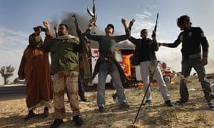 Libyan rebel fighters in Brega