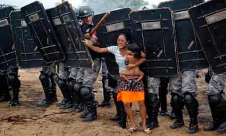 indigenous woman of Brazil's Landless Movement Amazonas state police expel