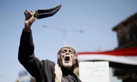 elderly anti-government protester