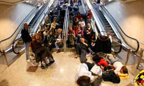 Stranded passengers at Barajas airport in Madrid