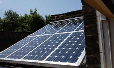Solar panels on a house in Hackney