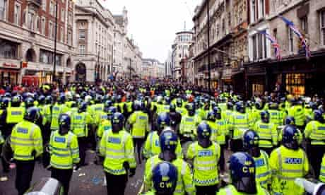 Riot police in Piccadilly, London