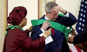 President Ellen Johnson-Sirleaf and George Bush